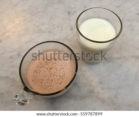 glasses of milk and coffee