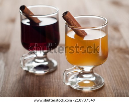 Glasses of mulled wine, selective focus - stock photo