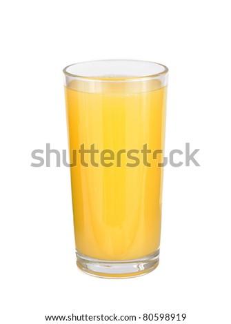 glasses of orange fruit juice on white background - stock photo