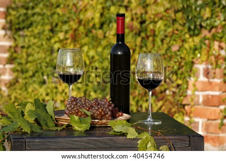 glasses of red wine with bottle
