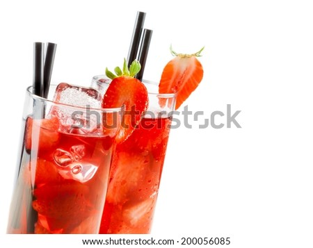 glasses of strawberry cocktail with ice isolated on white background with strawberry on top and space for text - stock photo