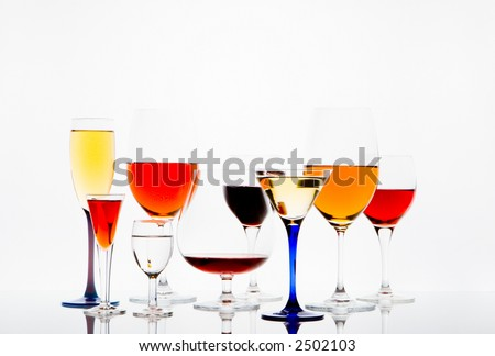 glasses of various drinks - stock photo