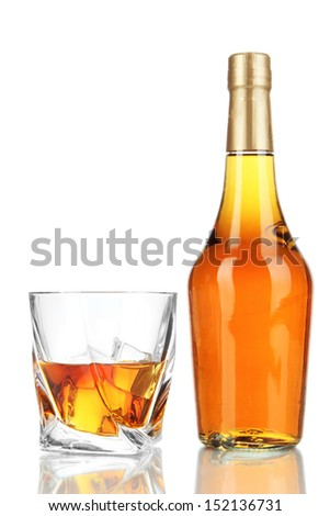 Glasses of whiskey with bottle, isolated on white   - stock photo