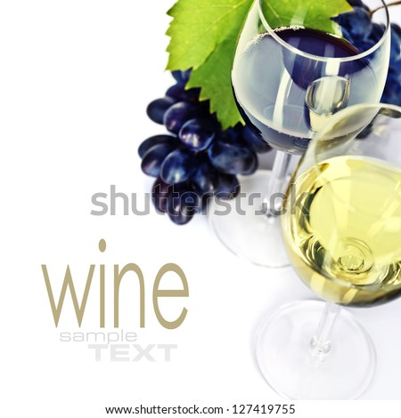 Glasses of white, red and rose wine and grapes over white  (easy removable sample text) - stock photo