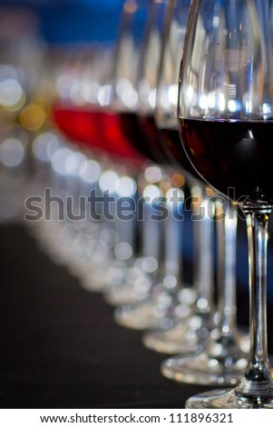 glasses of wine at the bar - stock photo