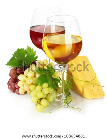 glasses of wine, cheese and ripe grapes isolated on white