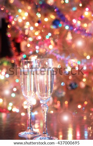 glasses of wine in a festive Christmas decoration