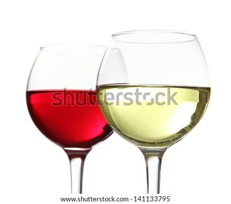 Glasses of wine isolated on white - stock photo