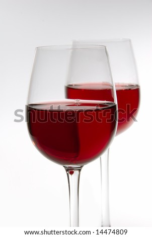 Glasses of wine isolated on white background - stock photo