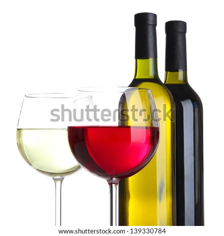 Glasses of wine with bottles isolated on white