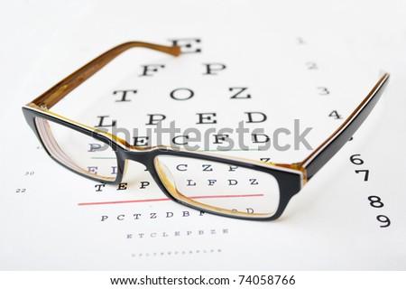 Glasses on a eye sight test chart. - stock photo