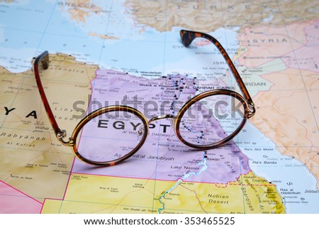 Glasses on a map - Egypt