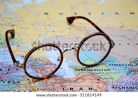 Glasses on a map of Asia - Armenia - stock photo