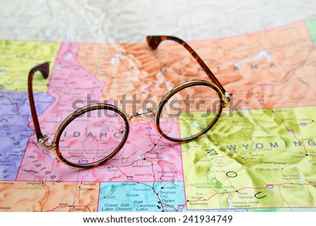 Glasses on a map of USA - Idaho