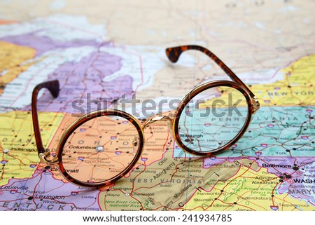 Glasses on a map of USA - Ohio  - stock photo