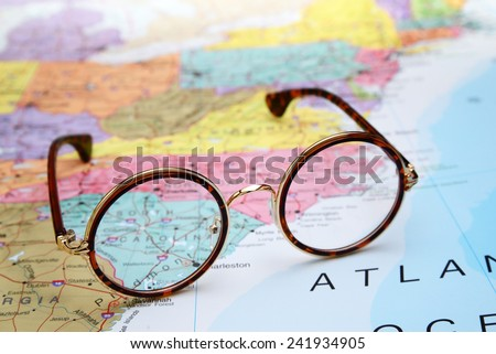 Glasses on a map of USA - South Carolina  - stock photo