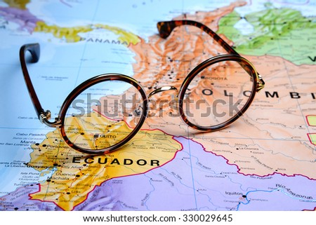 Glasses on a map - Quito