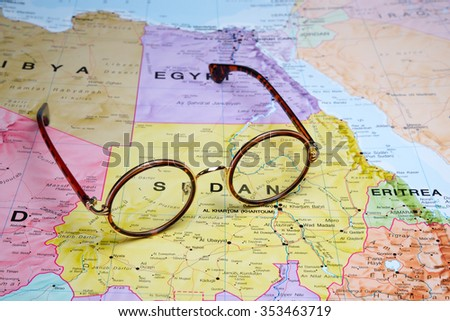 Glasses on a map - Sudan