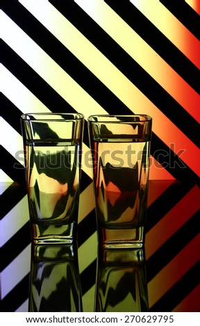 glasses on a striped background - stock photo