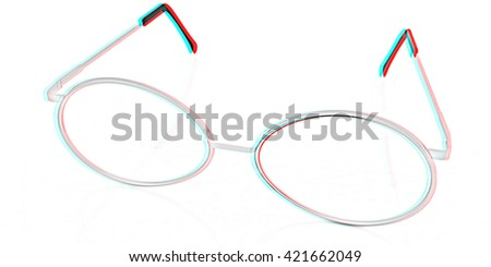 glasses on a white background. Pencil drawing. 3D illustration. Anaglyph. View with red/cyan glasses to see in 3D.