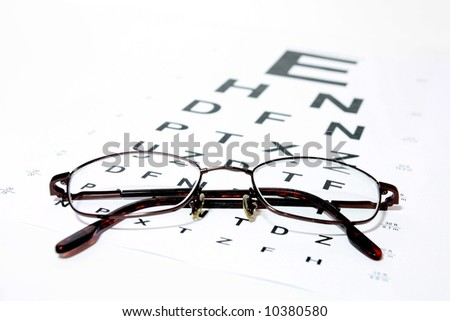 Glasses on eye Snellen Eye Chart - stock photo