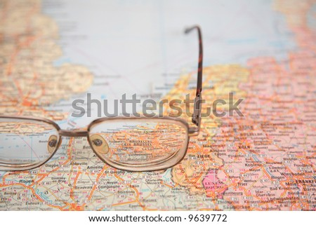 glasses on map of europe