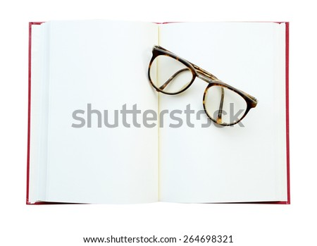 glasses on the open book. Isolated on white (clipping path) - stock photo