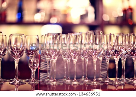 glasses on the table in a restaurant - stock photo