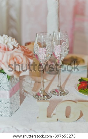Glasses on the wedding table.