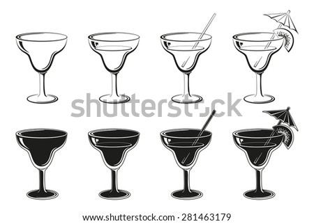 Glasses Set, Empty, with Drink, Kiwifruit and Straw Black Contours and Silhouettes Symbolical Pictogram Isolated on White Background.  - stock photo