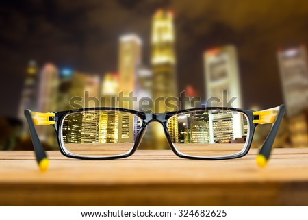 Glasses view vision focus viewpoint at Night City.