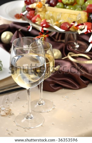 glasses wine on the table - stock photo