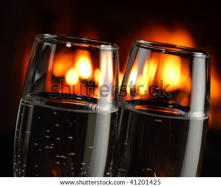 glasses with alcohol, closeup - stock photo