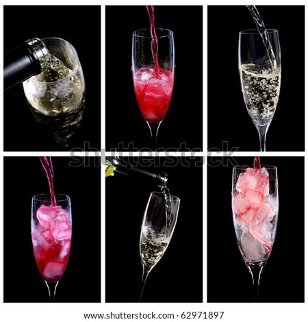 glasses with alcoholic cocktail drinks - stock photo