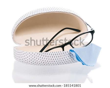 Glasses with case and cleaning cloth - stock photo
