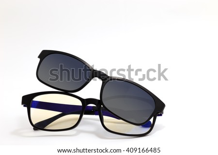 Glasses with clip sunglasses.