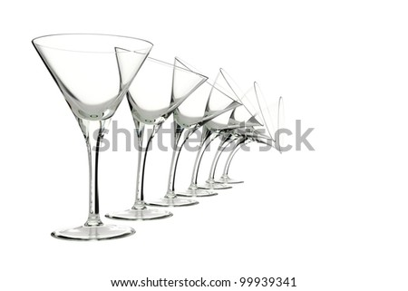 glasses with different characters isolated on white - stock photo