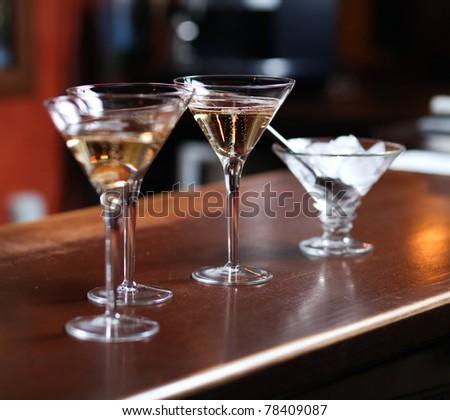 Glasses with fresh and tasty champagne in the bar - stock photo