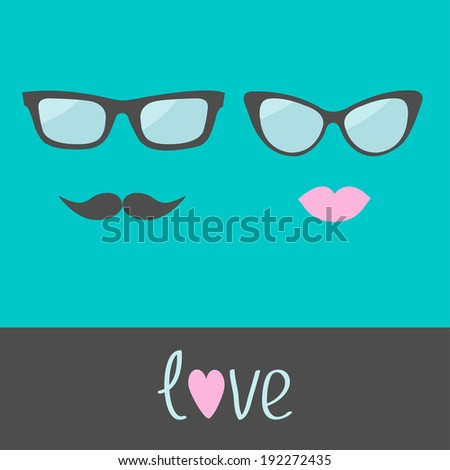 Glasses with lips and moustache. Flat design. Rasterized copy
