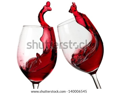 Glasses with red wine up
