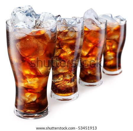 Glasses with soda and ice cubes on a white background - stock photo