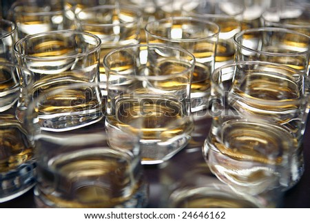 Glasses with whiskey - stock photo