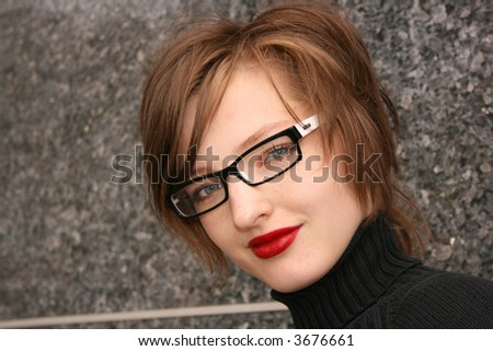 glasses woman with red lip