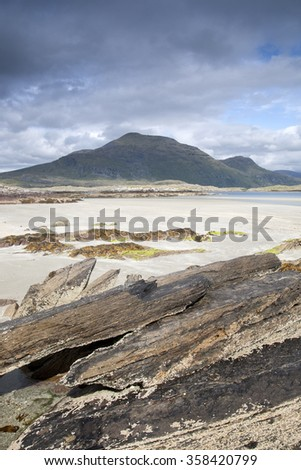 Glassillaun Beach, Killary Fjord, Connemara National Park, County Galway, Ireland