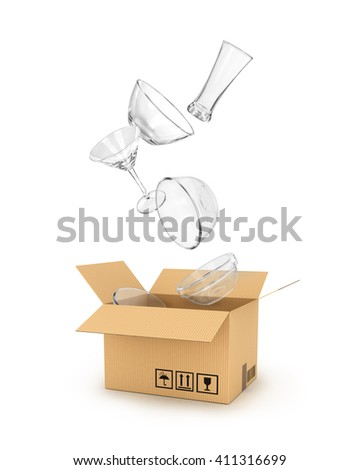 glassware falls in a cardboard box isolated on white background