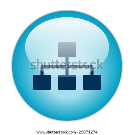 Glassy Blue Network Icon - stock photo