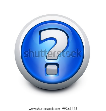Glassy button with Question mark - stock photo