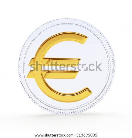 Glassy coin with golden EURO sign isolated on a white background