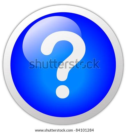 Glassy Dark Blue Question Mark Icon With Border - stock photo