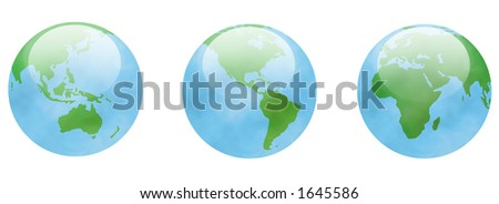 glassy globes with green land masses and a translucent clouded atmosphere - stock photo